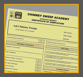 Chimney sweep certificate of completion